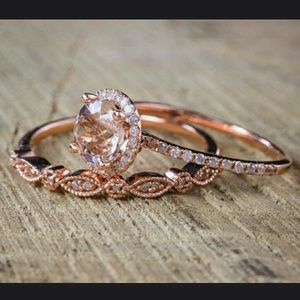 Jewelry - 2pc-18K Pink Morganite CZ Rose Gold Filled Ring